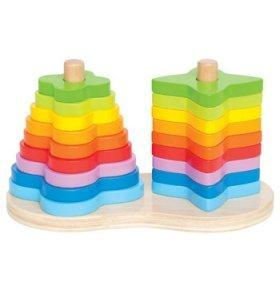 Jucarie eco din lemn Double Rainbow Stacker Hape