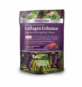 ResVitale Collagen Enhance Skin-Revitalizing Fruit Chews 30 caramele GNC